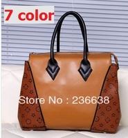 Women brand high quality stitching leather handbag messenger bag shoulder bag restoring ancient ways is his bag