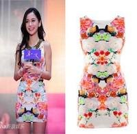 QZ226 New Fashion Ladies' Floral print sheath Dress elegent cascul slim party evening dress slim fit brand designer dress