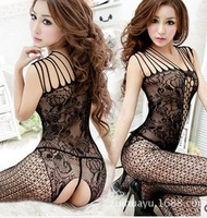 6PCS Sexy lady Fish Net Bodystocking Bodysuit Lingerie Open Crotch Babydoll free size 4 color rose black blue white