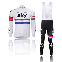 Hot sale!2014 new SKY white Cycling long sleeve Jersey bike clothing and bib pants/pants spring/autumn GEL PAD A-03 Size XS-4XL