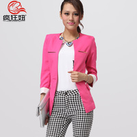 Blazer female spring and autumn slim outerwear candy color short design long-sleeve suit mwmyogm