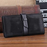New 2014 Genuine Leather Men Clutch Wallets Goatskin Business Wallet Vintage Money Clip Zipper Black Purse Carterira TBT0099