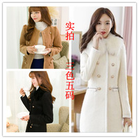 2013 plus size cardigan double breasted woolen outerwear female medium-long wool coat