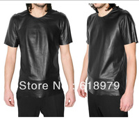 2014 mens fashion faux leather short-sleeve  t-shirt for men pu t shirt many colors
