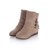 2013 new Ms. Ms. PU single metal decorative boots casual boots slope with boots