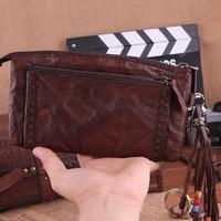 2013 New Genuine Leather Men Clutch Wallets With Handle Goatskin Vintage Wallet Money Clip Zipper Carterira TBT0098