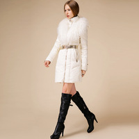 Fashion white black large fur collar high quality down duck down service female slim belt