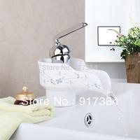 Elegant New Ceramic Bathroom Waterfall Chrome Brass Basin Vanity Faucet Sink Mixer Tap L-92685