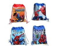 factory price Free shipping 1pcs/lot spider-man Cartoon Bag-woven fabrics Kid's School bag 34X27CM,party gift