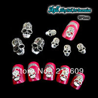Beauty!! 20pcs/Lot 3D Nail Supply Alloy Skull Nail Art Glitter Clear Rhinestone Nails Art Decorations Free shipping
