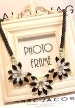 New SPX4000 2014 Fashion Amazing Crystal Beaded Flower Necklaces & Pendants crystal bib big rhinestone necklace(China (Mainland))