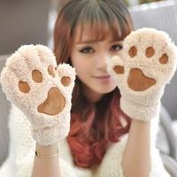 Gloves claws Women faux set women's yarn semi-finger gloves thermal gloves