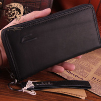 2014 New Design Genuine Leather Men Wallets With Handle Brand Cowskin Wallet Long Money Clip Zipper Coin Purse Carterira TBT0092