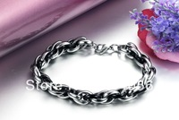 free shipping men new Fashion gift multi-layer quality personality titanium solid color  silver and black bracelet