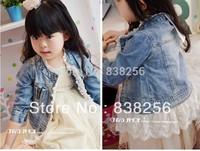 2014 New Girls fashion lace long-sleeved jacket denim jacket girls coat children outerwear Children's cloth autumn princess