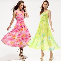 Fashion 2014 New In Women's Chiffon Dresses Sweet Flowers Print Slim Pleated Waist Sleeveless Elegant Women's Chiffon Dresses