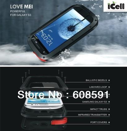 Original LOVE MEI Powerful Shockproof Dirtproof Waterproof Metal Case For Samsung Galaxy S3 SIII i9300 ,free shipping MOQ:1PCS(China (Mainland))