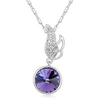 Free Shipping! New 18K White Gold Filled Angel Wings Shiny Austrian Crystal Pendant Necklace Factory Outlet Wholesale&Retail
