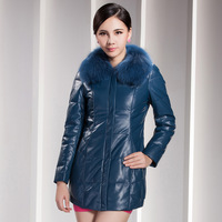 2013 winter fox fur medium-long genuine sheepskin down coat leather outerwear female clothing 695