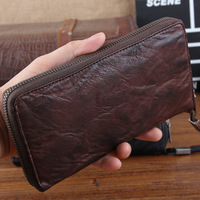 Genuine Leather New 2014 Men Wallets Brand Vintage Goatskin Handle Wallet Classic Money Clip Zipper Purse Carterira TBG0095