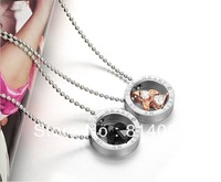 Hot pink gold black stainless steel couple pendants round neck long section in alphabetical jewelry for men and women