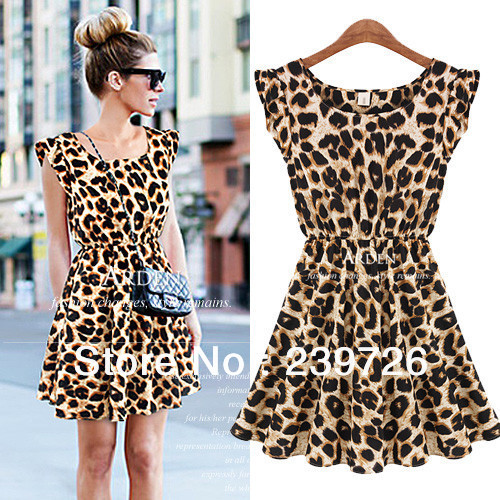 Free shipping New 2014 Leopard Print women summer dress Vintage O-neck Sleeveless Sundress plus size casual dress(China (Mainland))