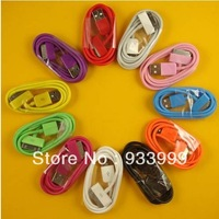 Free Shipping!!20pcs/lot 6Pins colorful 1m usb data sync charge cable cord for iphone 4 4g 3g 3gs 2g
