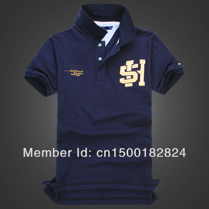 The new men's cotton short-sleeved polo shirt lapel solid color high quality embroidered polo big H(China (Mainland))