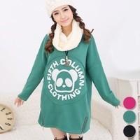 2014 maternity clothing double zipper fleece sweatshirt 100% cotton maternity dress thick t-shirt spring outerwear