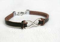 Infinity Bracelet with Leather Band - Good for Man -- Custom-- Adjustable -- 6pcs/lot! Min.order $10.0 ,Free Shipping!