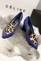 Velvet patchwork 2013 fashion sexy leopard print personality thick heel high-heeled shoes single shoes Women