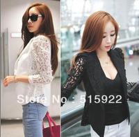2013 New Top Coat Sexy Sheer Lace Blazer Lady Suit Outwear Women OL Formal Slim Jacket Black White M L
