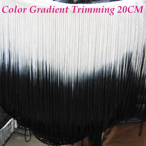 2015 new Rayon fringe Tassel lace latin tutu dress trimming colored applique lace double colors white black 30m(China (Mainland))