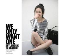 2013 new fashion women Horizontal stripe basic shirt Elbow spliced ladies plus size  t-shirt/tops spring autumn elegant cute
