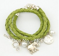 Min order $10 (mix order)  Many elements of weaving multilayer Elephant Pendant Bracelet