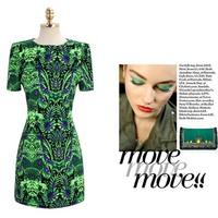 Free shipping 2014 new short-sleeved print dress Slim European and American big totem for women women's Celebrity Dresses E06