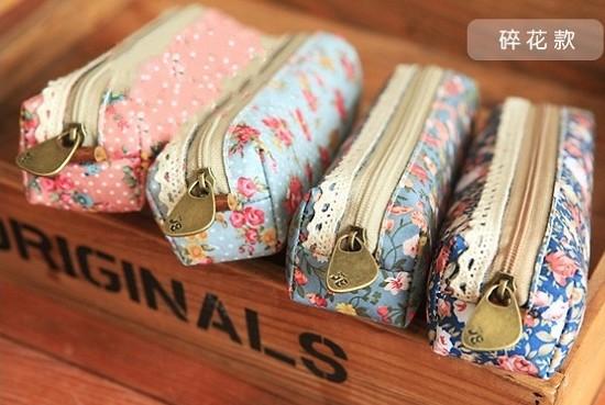 New vintage dots flower lace series pencil bag/pencil pouch/pen bag/cotton bag/wholesale/Free shipping(China (Mainland))