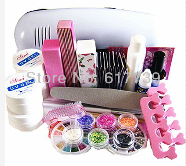 FREE SHIPPING Professional Full Set UV Gel Kit Nail Art Set + 9W Curing UV Lamp Dryer Curining(China (Mainland))