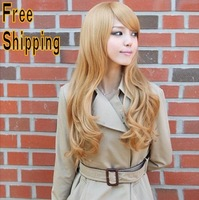 free shipping 2014 new hot sale cheap discount promotion blonde hair wigs weave wavy hair synthetic hair decoration women ladies