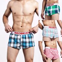 Seobean male plaid shorts home woven 100% cotton loose boxer panties aro breathable cotton pants