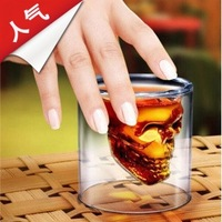 Free shipping Double layer doomed pirate skull style wine glass cup
