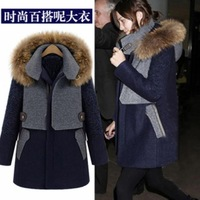 Same with Emma Watson Fashion Long Sleeve Blue Coat with Hat Free Shipping yn115