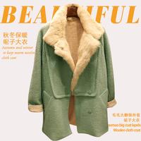 New Arrival Women Fashion Warm Thick Fur Lining Long Sleeve Green Coat Free Shipping yn135
