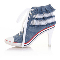 2013 fashion lace decoration denim boots princess single shoes women's shoes high canvas shoes pump