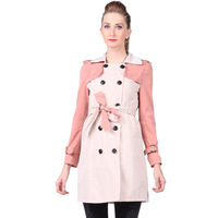 Spring women outerwear double breasted belt slim medium-long trench 8050