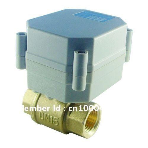 DN15 1/2'' 2Way DC12V/24V electric actuated valve motor control brass ball valve(China (Mainland))