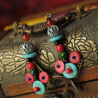 Free Shipping Retro Palace National Bohemia Style Jewelry Turquoise Earrings Long Dangle Drop Earrings for Women E0003