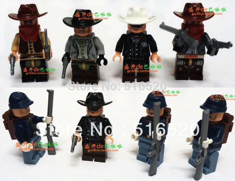 The Lone Ranger Cowboy Figures 8pcs/lot Minifigures Building Blocks Minifigures DIY Bricks Toys(China (Mainland))