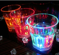 Colorful led wine glass flashing octagonal luminous cup turesday water ktv supplies