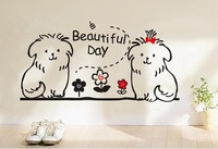 Free shipping wholesale wall decals wall stickers PVC stickers Glass stickers dogs design Support For Mixed Batch